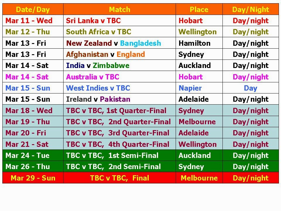 Icc World Cup 2015 Schedule Time Table Pdf