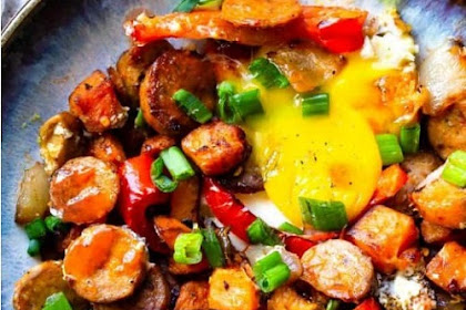 Buffalo Chicken Paleo Sweet Potato Hash