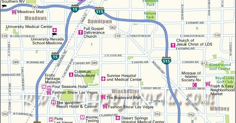 Four Seasons Las Vegas Map.Handy Las Vegas City Map Mapsofworld Updates