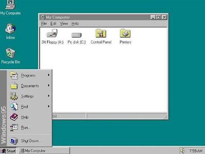 menu Iniciar do Windows 95