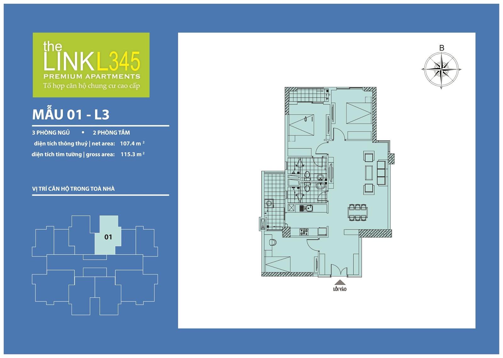 Mặt bằng chi tiết căn hộ 01 - L3