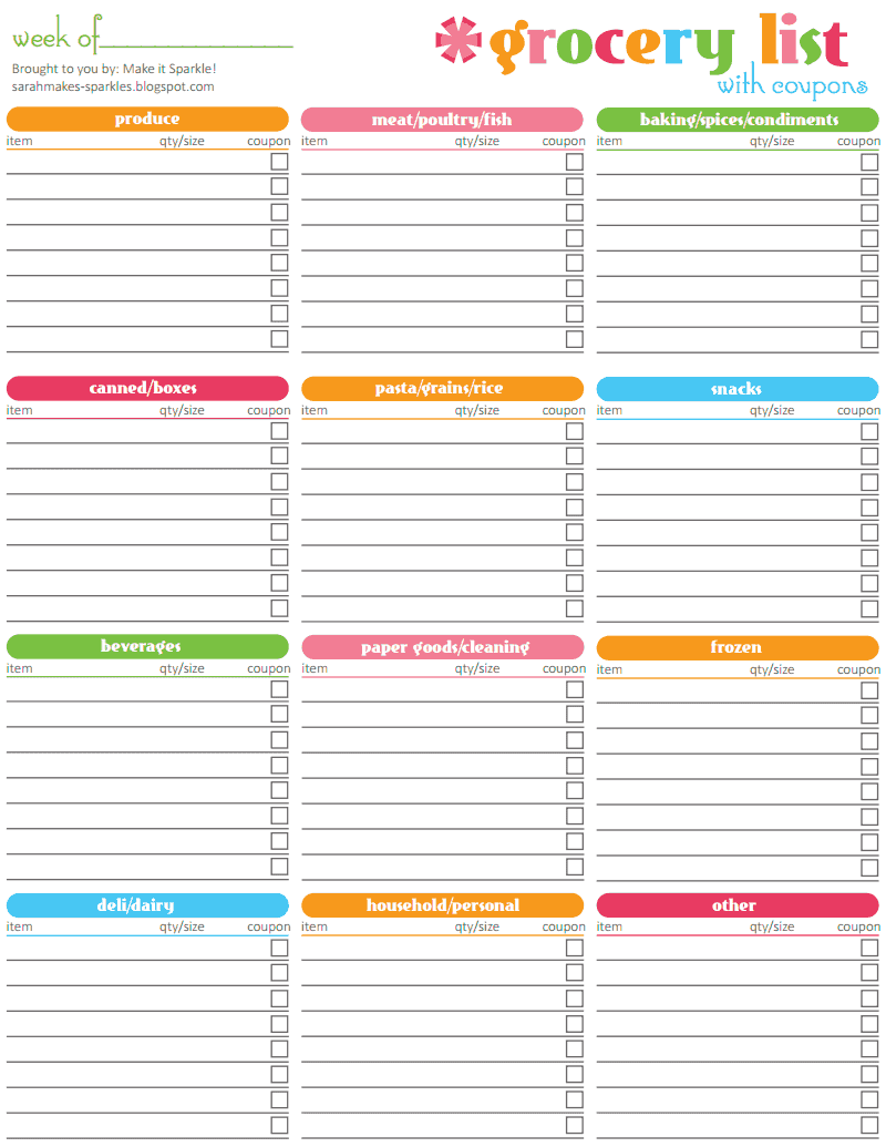 Doc431560 Template for Shopping List Free Printable Grocery – Shopping List Format