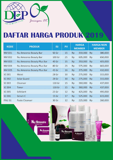 Daftar harga produk nu amoorea tahun 2019