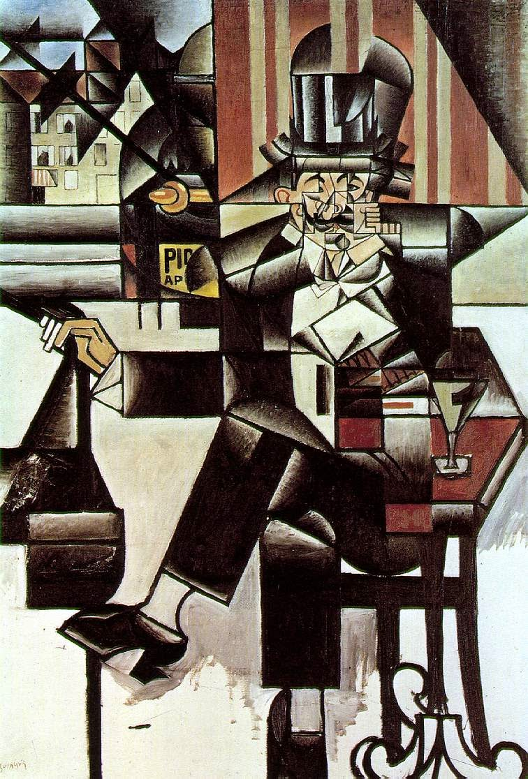 Homem no Café - Técnica de colagem e cubismo nas obras de Juan Gris