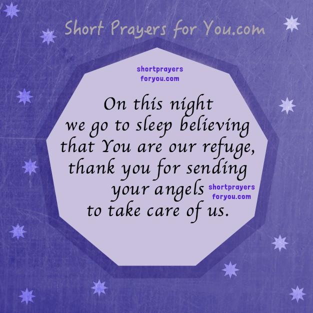 Good Night short prayer, nite prayer, image with prayer for family, going to sleep with prayer by Mery Bracho