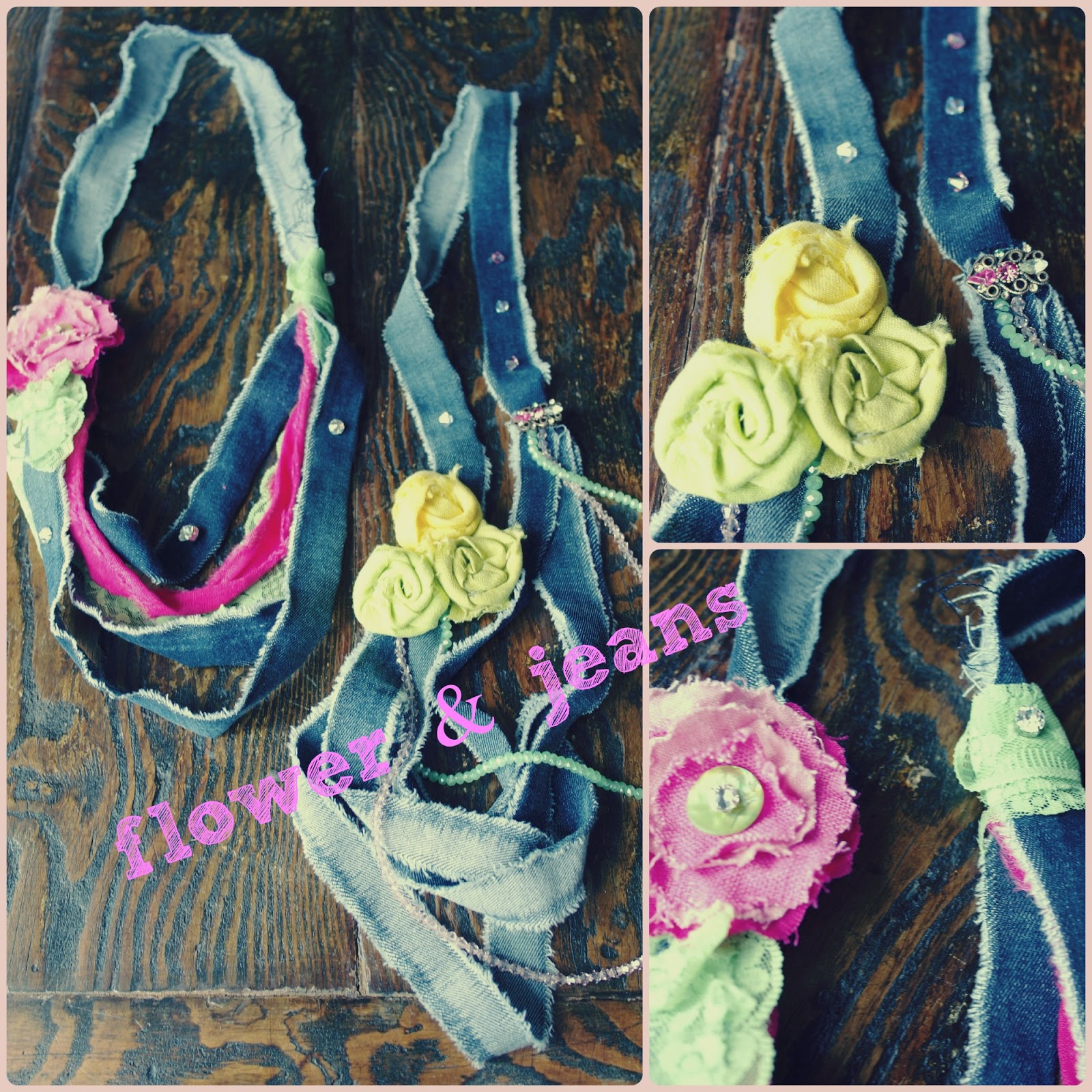 fabric flower necklace jeans