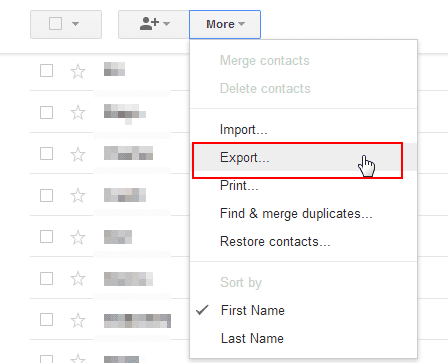 export google contacts old