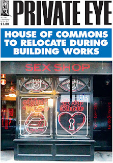 Private Eye cover headline says House of Commons to relocate over picture of Soho sex shop