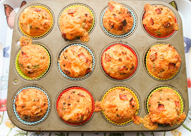 Food Lust People Love: Loads of extra mature sharp cheddar cheese, smoked ham and chives make these cheddar ham chive muffins the perfect accompaniment to your favorite soup, or as a stand alone treat for breakfast and snack time.