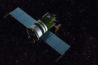 Disegno della capsula Zond in navigazione nello spazio.