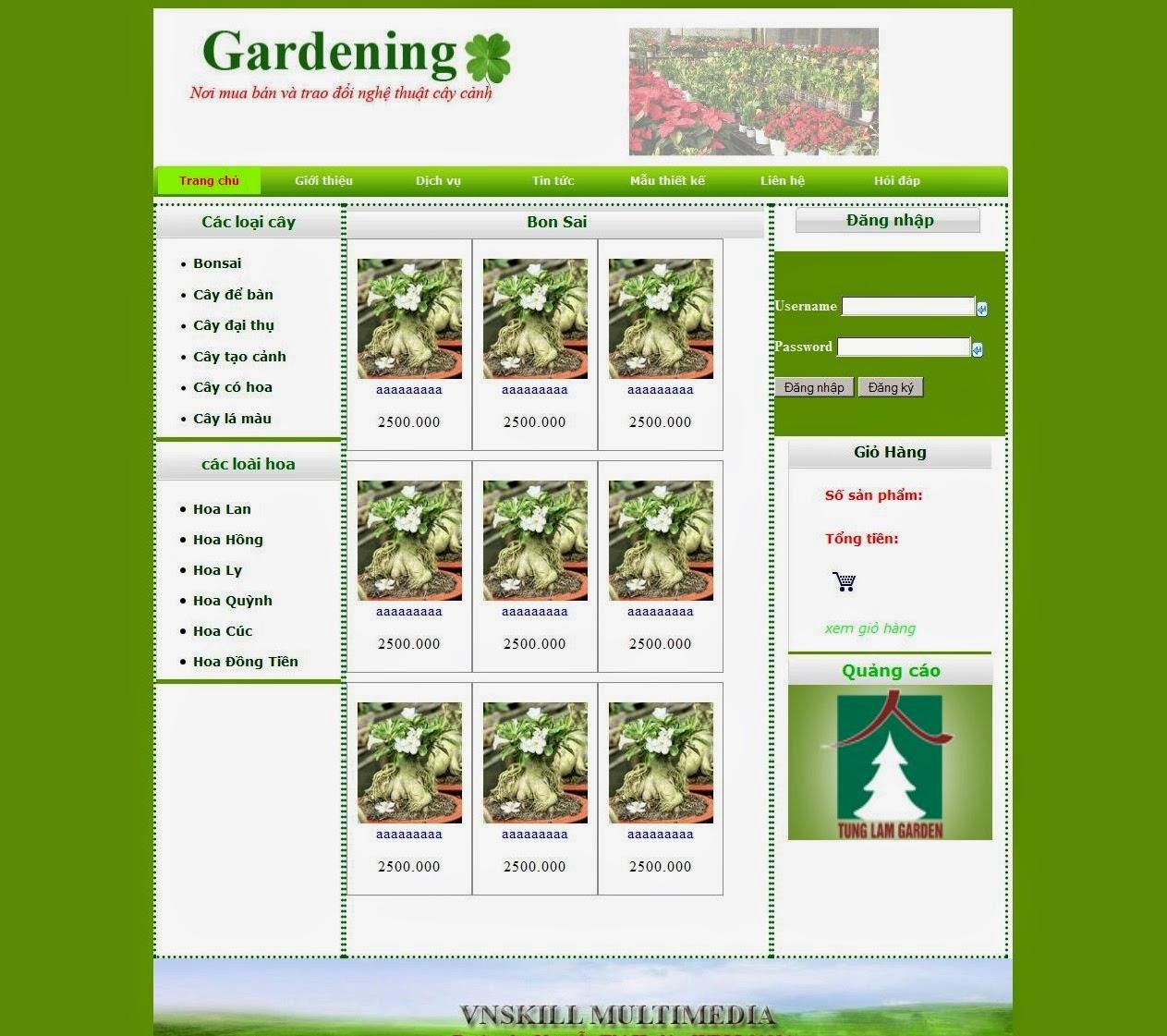 dịch vụ thiết kế website cây cảnh