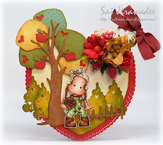 Magnolia Heart shaped Card
