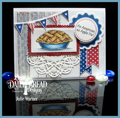 Our Daily Bread Designs Stamp Set:Homemade Pie, Baking Gift Tags, Patriotic Pennants, Our Daily Bread Designs Custom Dies: Flourished Star Pattern, Double Stitched Circles, Double Stitched Rectangles, Pennant Row, Recipe Card and Tags, Lavish Layers, Rectangles, Doily, Our Daily Bread Designs Paper Collection: Patriotic