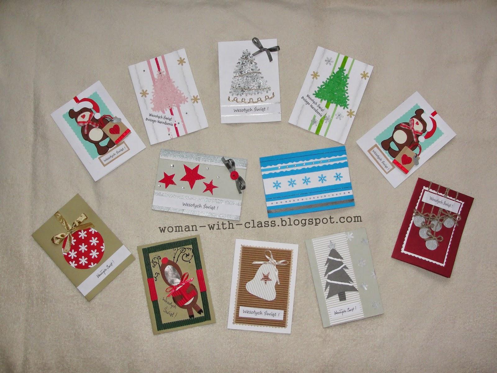 Bardzo dobryFantastyczny Woman with class: Kartki świąteczne - Bożonarodzeniowe ręcznie robione OW53
