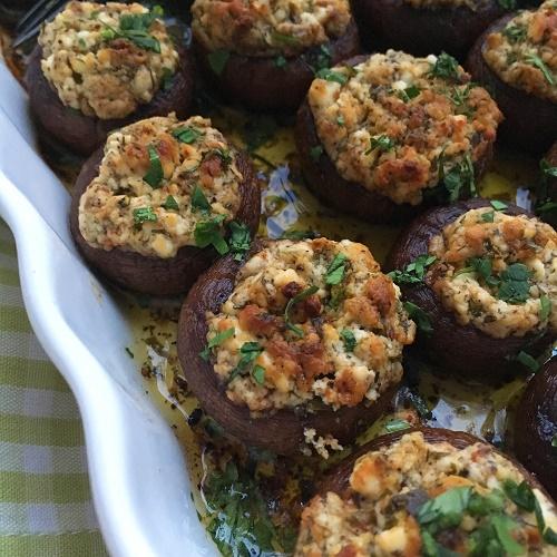 gefüllte Backofen-Champignons mit Fetacreme