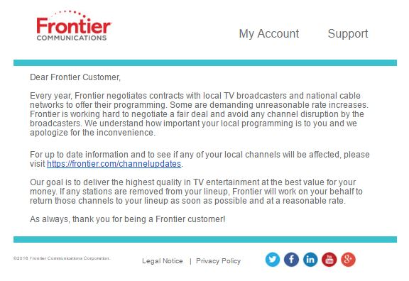 Bizarre Letter From Frontier Communications