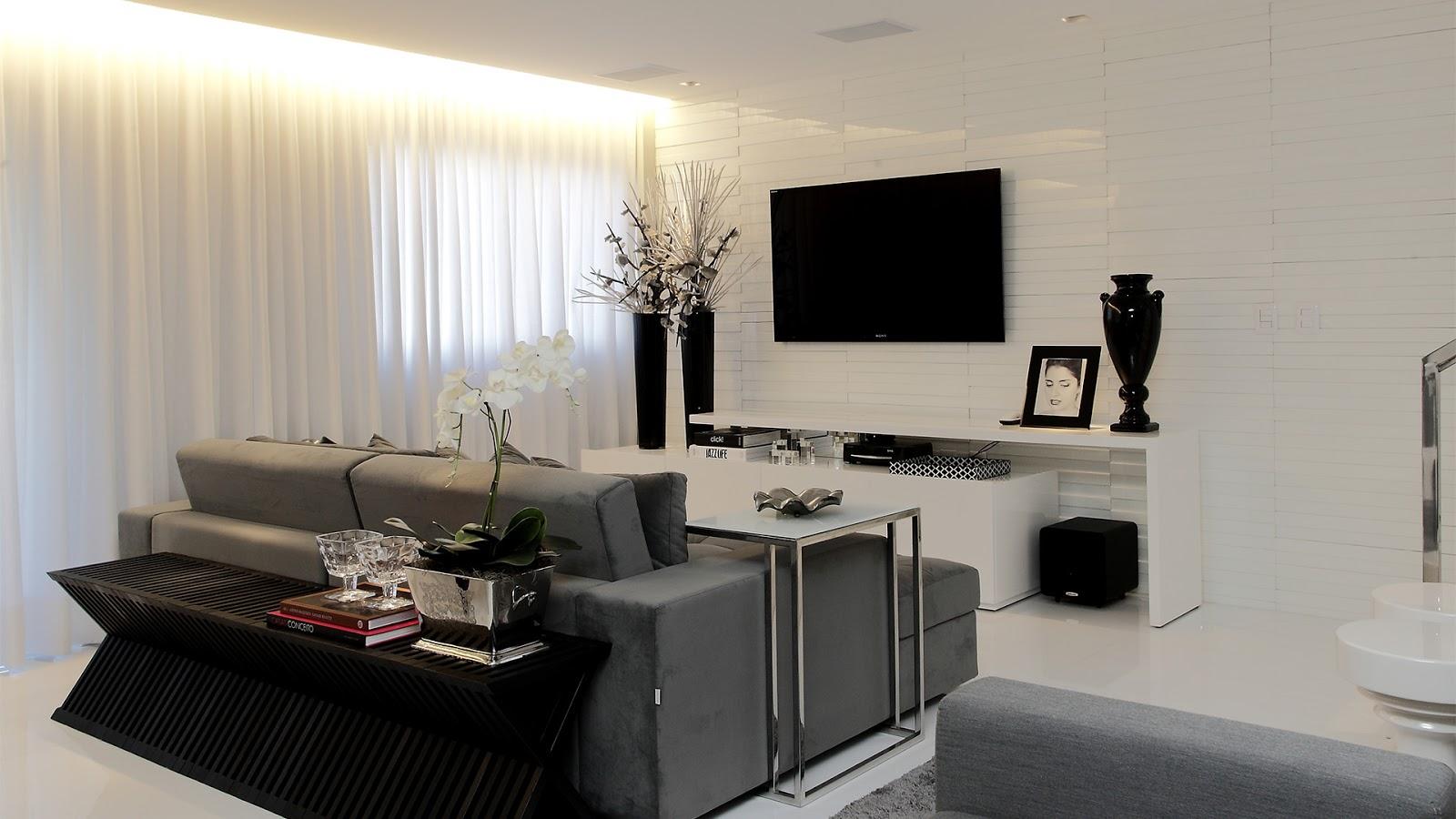 decoracao tijolo branco : decoracao tijolo branco:Adorei o móvel atrás do sofá e a mesa de apoio metálica dele