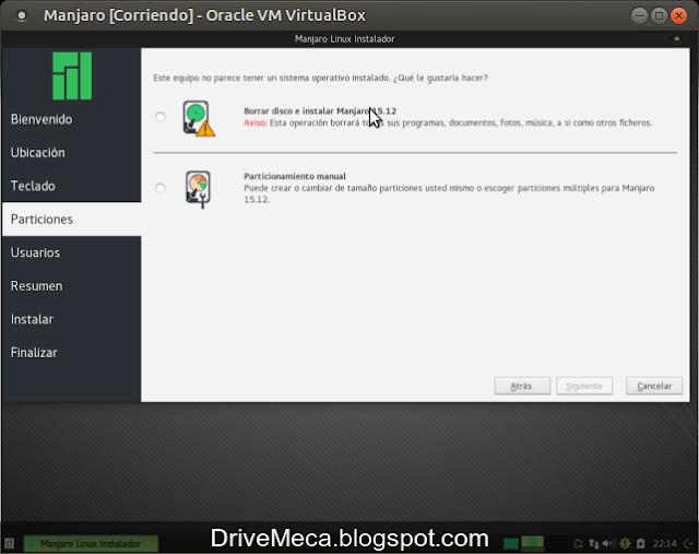 DriveMeca instalando Manjaro Linux XFCE Capella 15.12 paso a paso