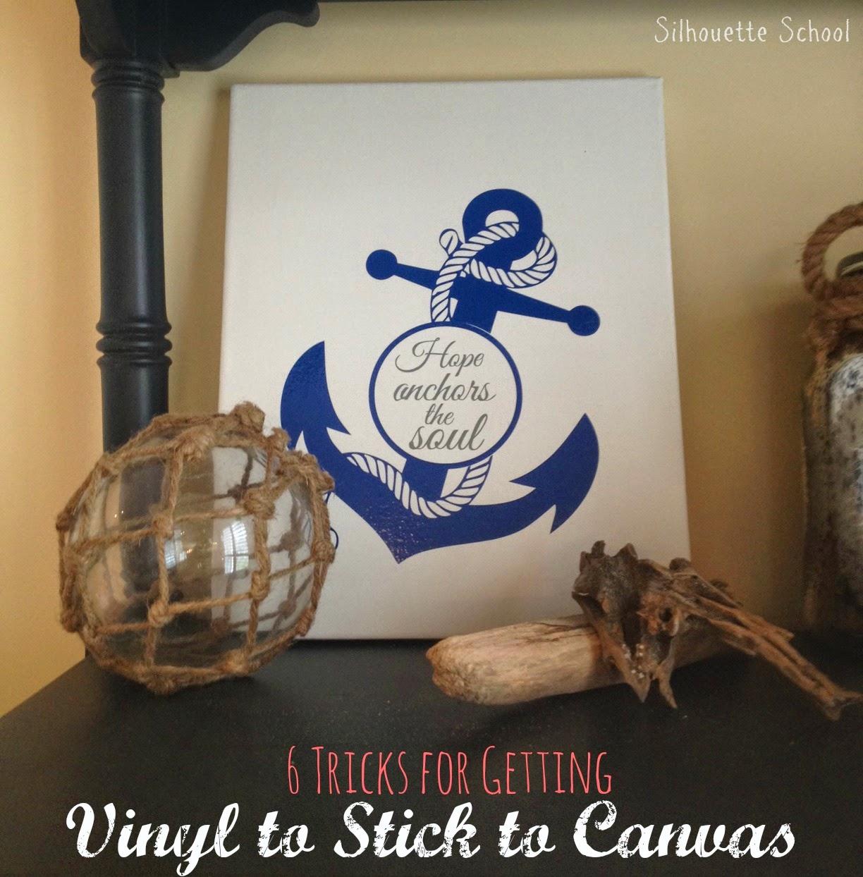 Adhesive vinyl, vinyl adhesive, canvas, silhouette 101, silhouette america blog