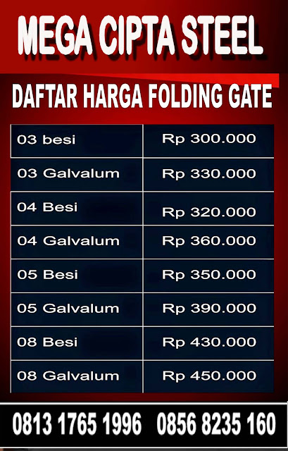 Gambar Daftar Harga Folding Gate & Rolling Door One Sheet, Industri 1