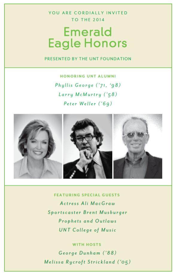 Rsvp Calendar Don T Forget Unt Foundation Emerald Eagle Honors