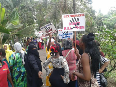 Sex workers in Mombasa, Kenya protest mistreatment by clients after colleague's death
