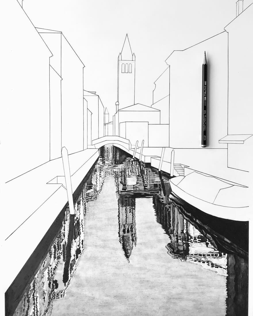 06-Finished-drawing-reflection-of-San-Barnaba-in-Venice-Minty-Sainsbury-Traditional-Architecture-Drawings-in-Pencil-www-designstack-co