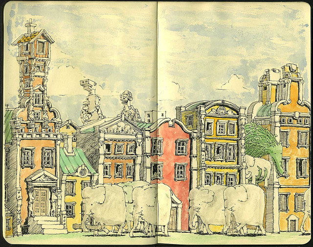 11-Dim-Sum-Mattias-Adolfsson-Surreal-Architectural-Moleskine-Drawings-www-designstack-co