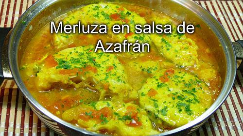 Merluza en salsa de azafrán