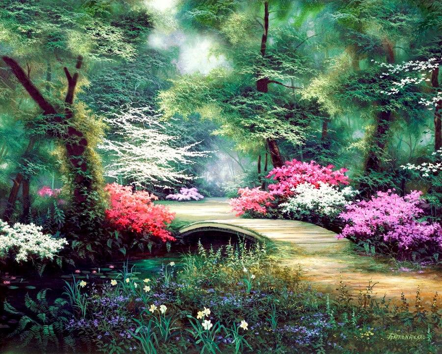 Imágenes Arte Pinturas: Vistas Paisajes Con Jardines