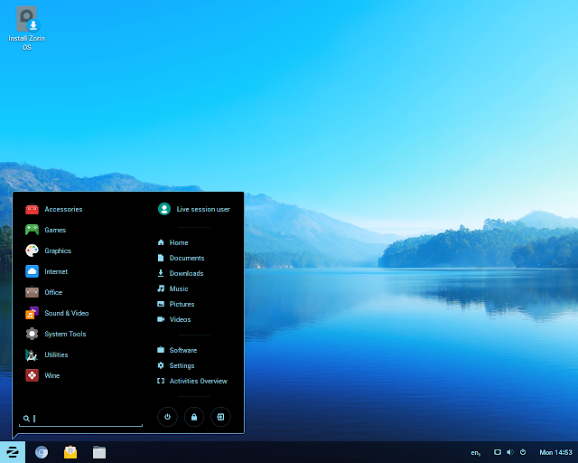 Versão Live do Zorin OS 12