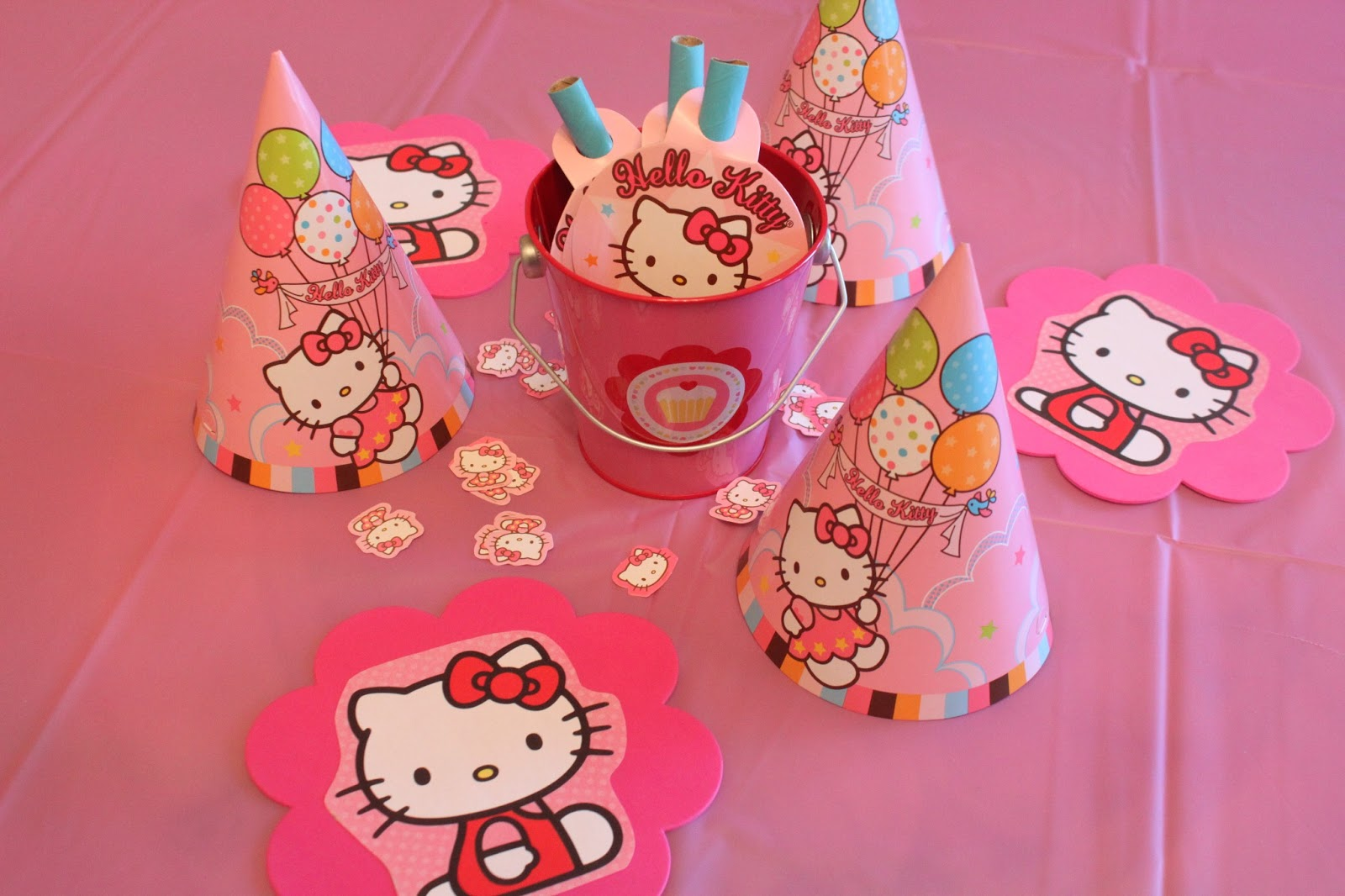 I Found A Bunch Of Pink Pails And Filled Them With Blowouts Then Surrounded It Party Hats Confetti Hello Kitty Cut Outs That Color Copied