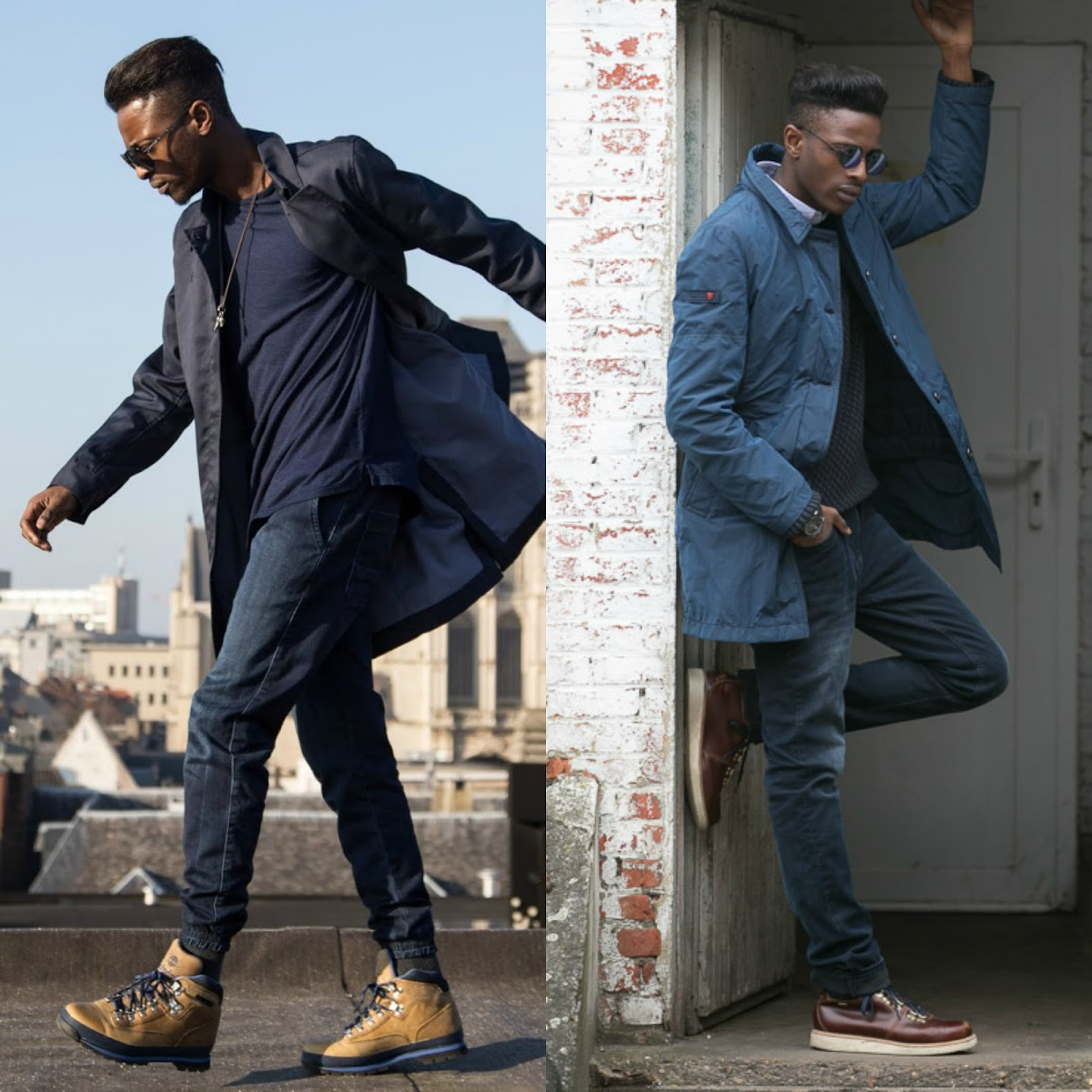 how to wear timberland boots :Paired with a Long Blue Coat