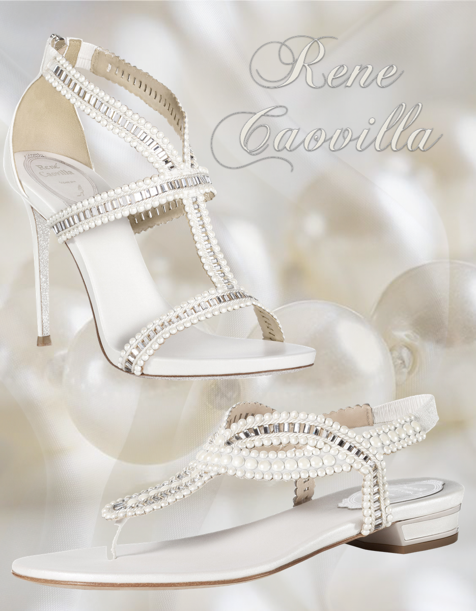 Rene Caovilla Perlage Crystal and Pearls Embellished Sanda