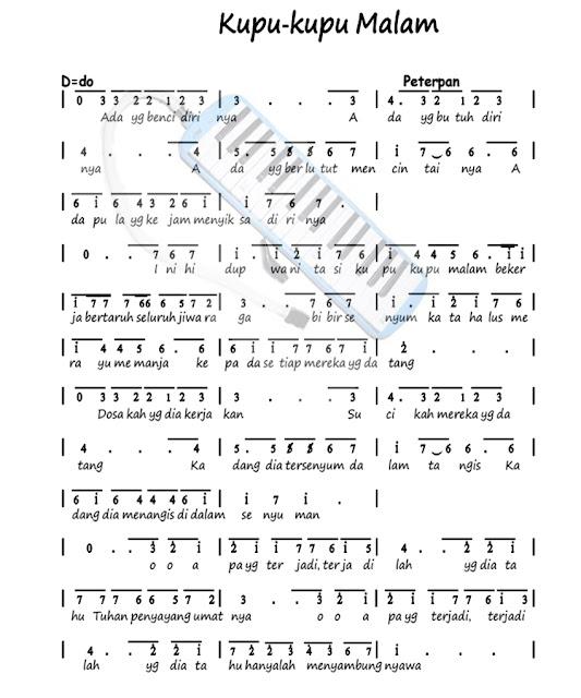Kunci Lagu Kupu Kupu Malam : kunci, malam, Pianika, Kupu-kupu, Malam, Versi, Peterpan