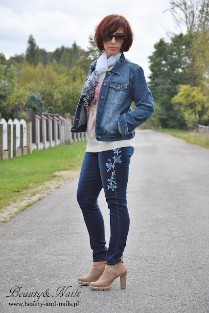 DRESSLILY | Skinny Jeans | dżinsy z haftem i apaszka.