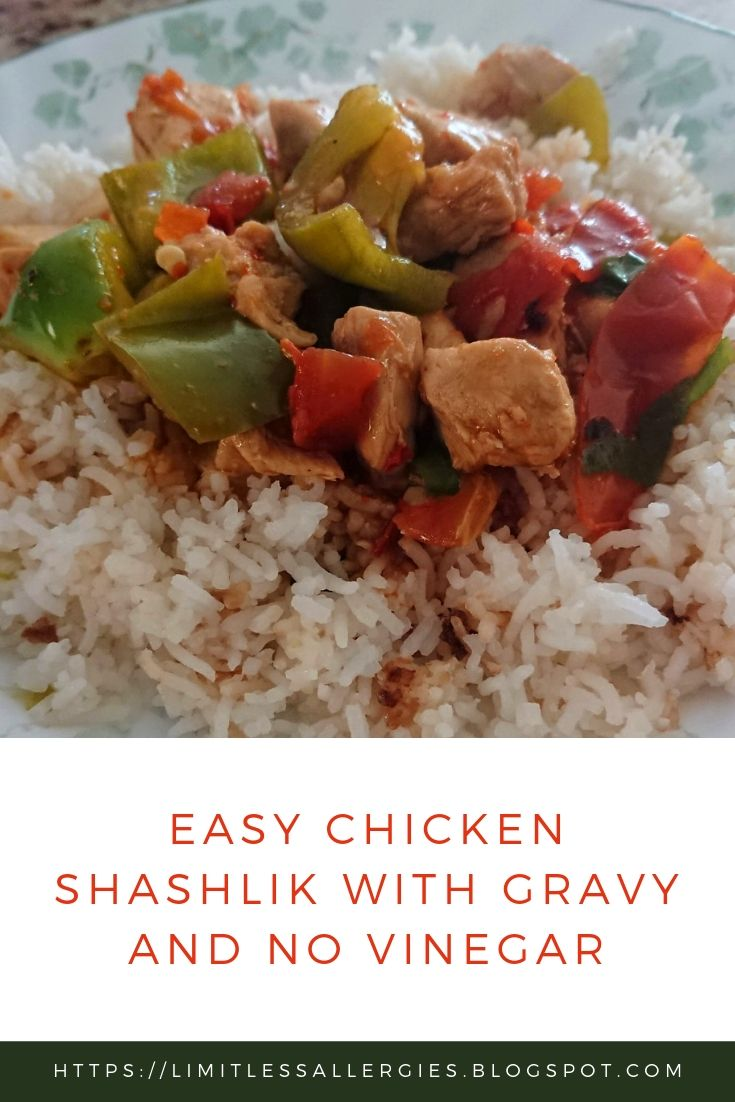 pinning image for Easy Chicken Shashlik with Gravy and No Vinegar