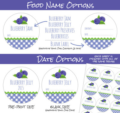 Gingham Blueberry canning label options