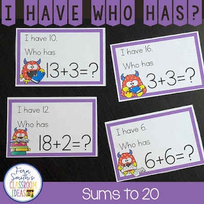 My students LOVE I Have, Who Has? Games and your students will too! You will love how easy it is to prepare this I Have Who Has Game for your class. You can play it with your whole class or in small groups. In small group lessons you can give each student three to four cards and everyone is involved REPEATEDLY! Keep your students alert and on their toes for a fast round of I Have, Who Has? and you will not only be reviewing important skills, but bring joy and fun to your lesson too. A teacher answer key is included so you OR A STUDENT HELPER, can follow along and help the class when one student is stuck! Enjoy! I Have, Who Has? Monster Themed Sums to 20 and a Teacher Answer Key by Fern Smith's Classroom Ideas.