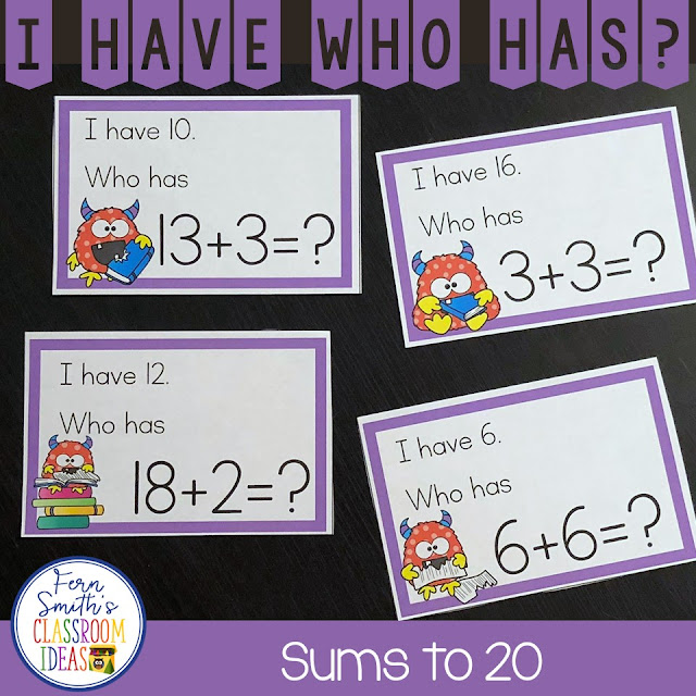My students LOVE I Have, Who Has? Games and your students will too! You will love how easy it is to prepare this I Have Who Has Game for your class. You can play it with your whole class or in small groups. In small group lessons you can give each student three to four cards and everyone is involved REPEATEDLY! Keep your students alert and on their toes for a fast round of I Have, Who Has? and you will not only be reviewing important skills, but bring joy and fun to your lesson too. A teacher answer key is included so you OR A STUDENT HELPER, can follow along and help the class when one student is stuck! Enjoy! I Have, Who Has? Monster Themed Sums to 20 and a Teacher Answer Key