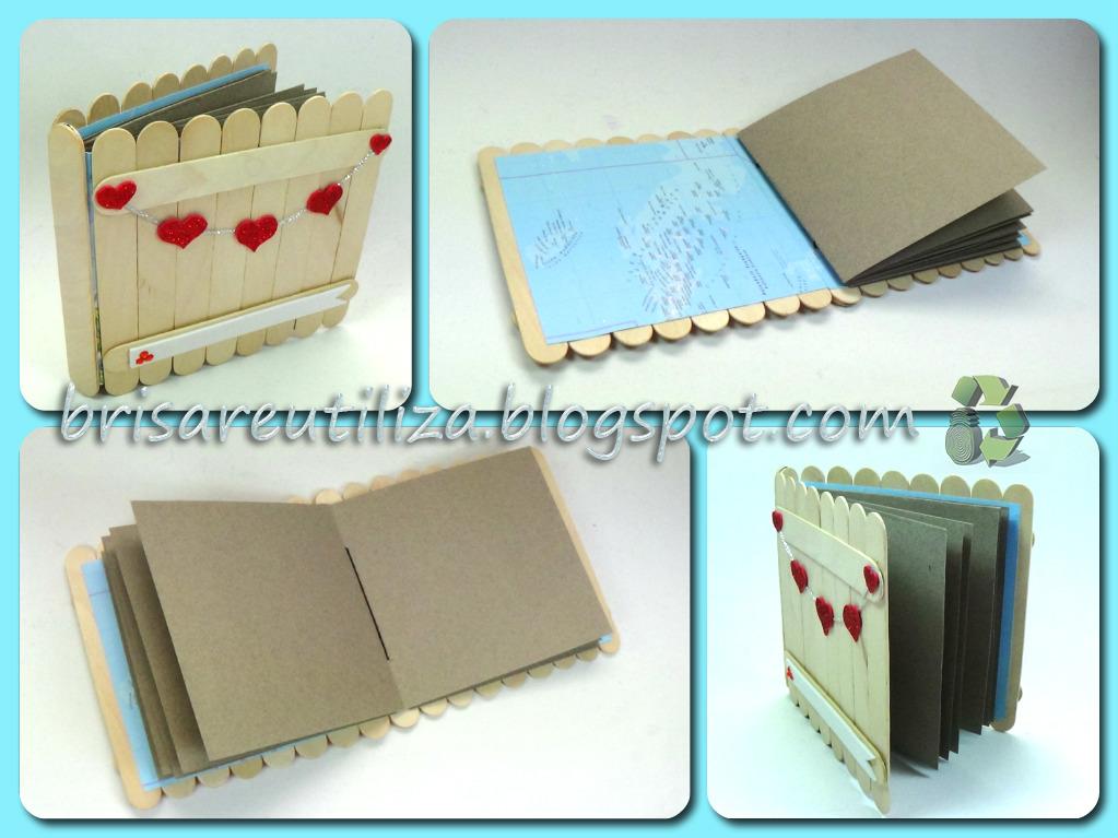 Ecobrisa diy album con palitos de helado for Cosas hechas con paletas de madera