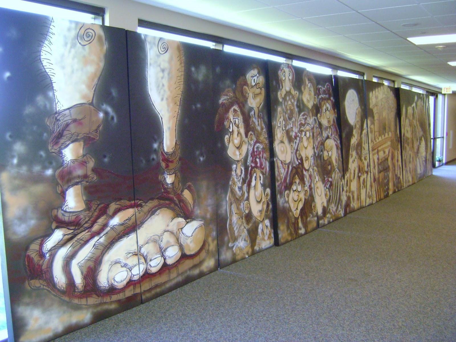 The Mural Garage: Spray Painted Mural for Church Sermon Series