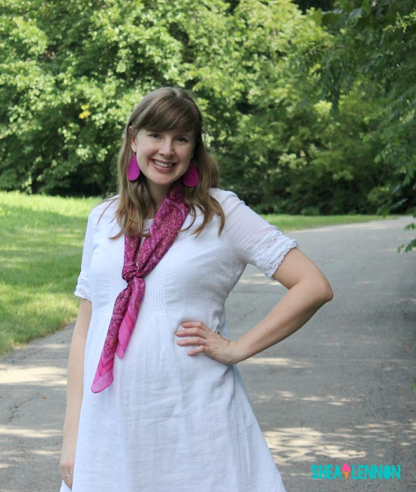 Summer outfit idea - white dress with bright scarf and jewelry and espadrilles | www.shealennon.com