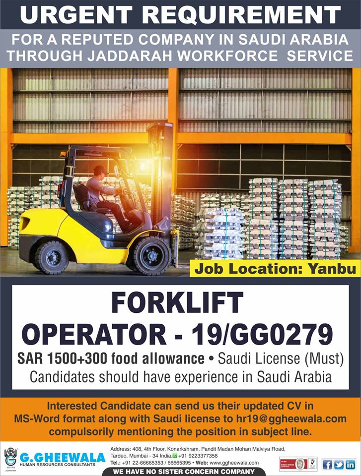 Forklift Operator required for Yanbu Saudi Arabia