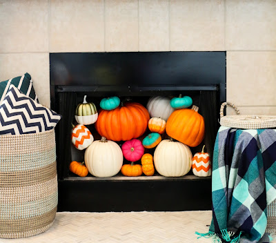 A Kailo Chic Life: Style It - A Pumpkin Filled Fireplace