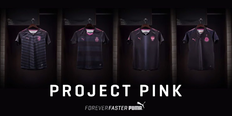 6892eb8aa8a Chivas and Rayados already debuted their special Project Pink 2017-2018  jerseys in their Liga MX matches on Saturday, while Queretaro and Santos  Laguna will ...