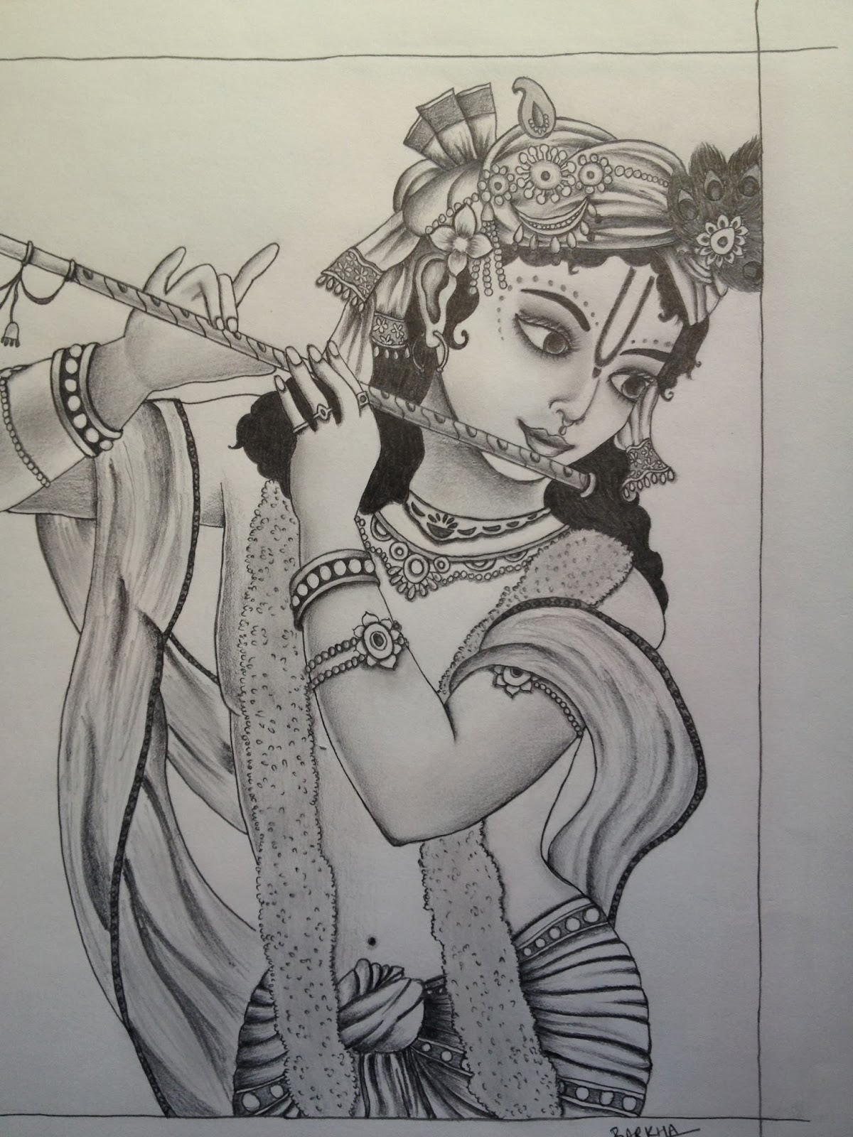 Pictures Of Lord Krishna With Flute Drawings Rock Cafe