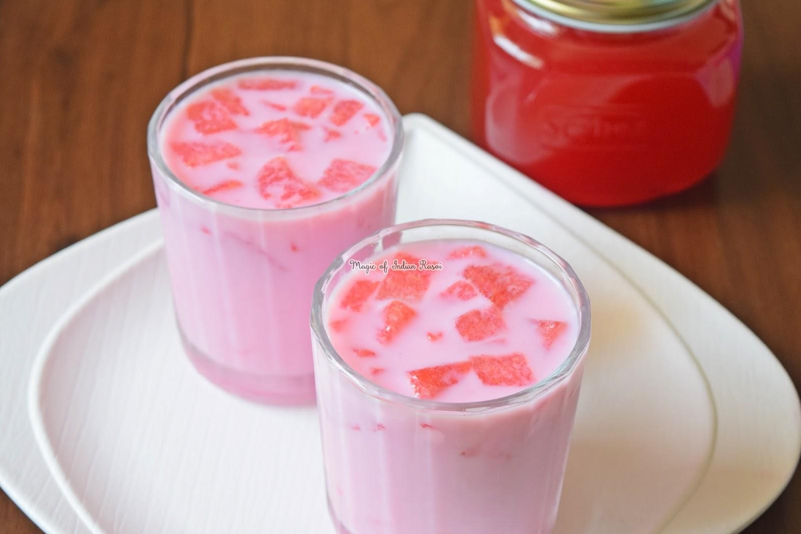 Fresh Rose Petals Syrup Recipe - Rose Milk Sharbat - फ्रेश रोज पेटल सिरप रेसिपी - रोज मिल्क शरबत - Priya R - Magic of Indian Rasoi