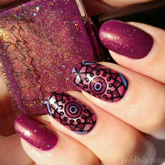 Kaleidoscope or stained glass nail art, by polilish