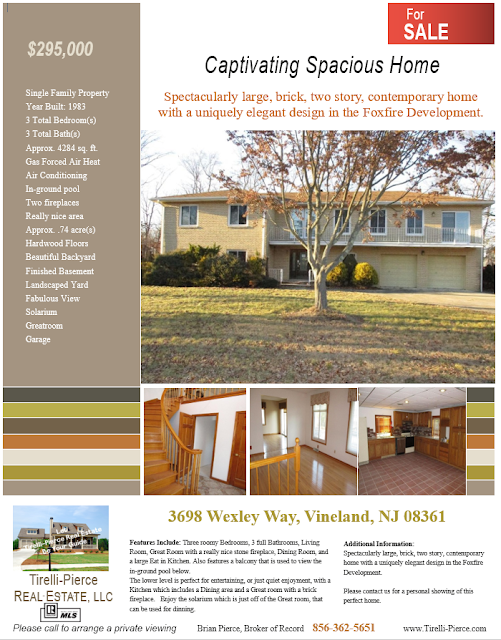 FOR SALE $295,000, 3698 Wexley Way, Vineland, NJ 08361
